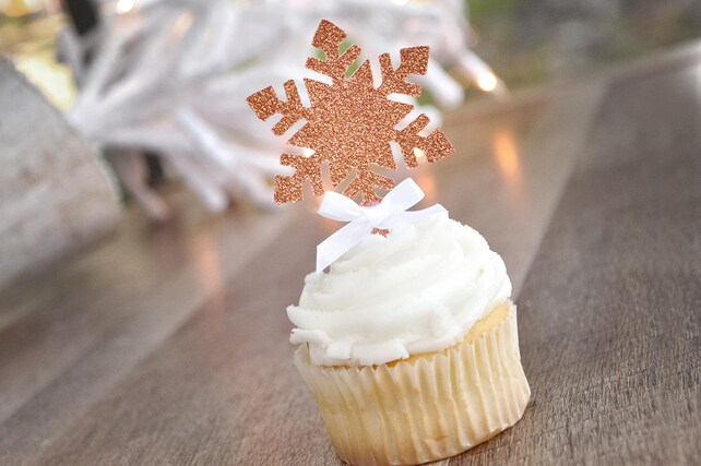 Snowflake Cupcake Picks 12CT. Made in 3-6 Business Days. Glitter Rose Gold Snowflake Toppers. Winter Onederland Cupcake Toppers.