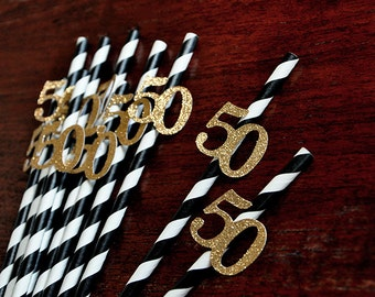 Black and Gold Straws for 50th Party 10CT.  Handcrafted in 2-5 Business Days.  50th Birthday Party Ideas.