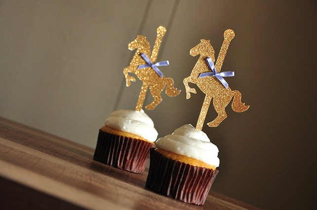 Carousel Horse Cupcake Toppers.  Handcrafted in 3-6 Business Days.  Merry-Go-Round Horse Cupcake Toppers 12CT.