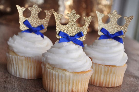 Crown Cupcake Toppers. Royal Prince Baby Shower Decorations.  71dc743eb1f8