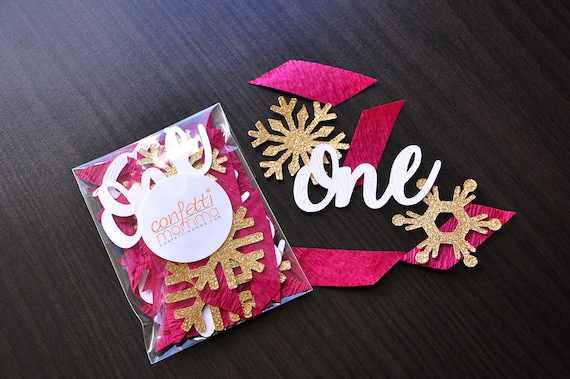 """Winter Onederland Party Decorations. Made in 3-6 Business Days. Burgundy, White Woodgrain and Gold Party Decorations. """"One"""" Snowflake Mix."""