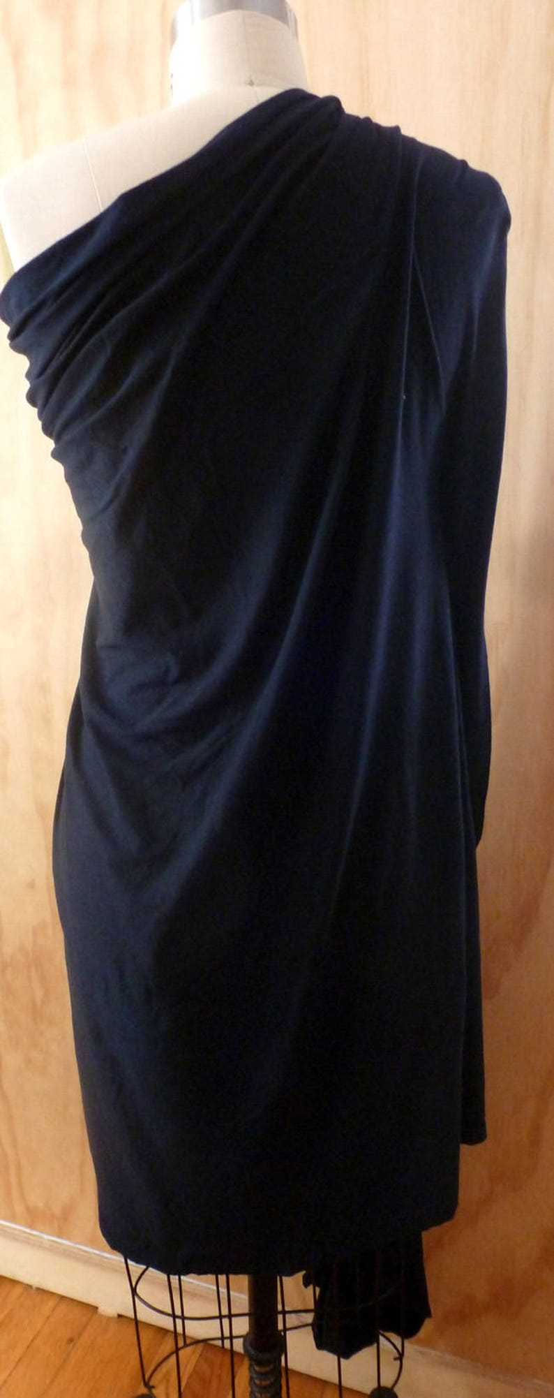 Black draped long one shoulder top with detail ruching