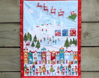 Advent Calendar Santa Christmas Tree, Christmas Decoration, Wall hanging, Fabric Advent Calendar
