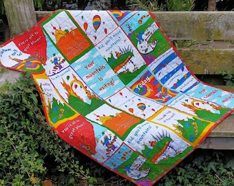 Baby Quilt with Dr Seuss Oh the Places You'll Go