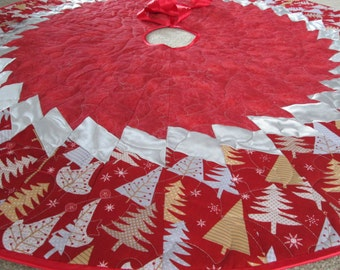 Modern Christmas Tree Skirt,  Holiday Sparkle, Quilted  Tree Skirt, Christmas Decoration, Christmas Decor, Red Silver Holiday Decor
