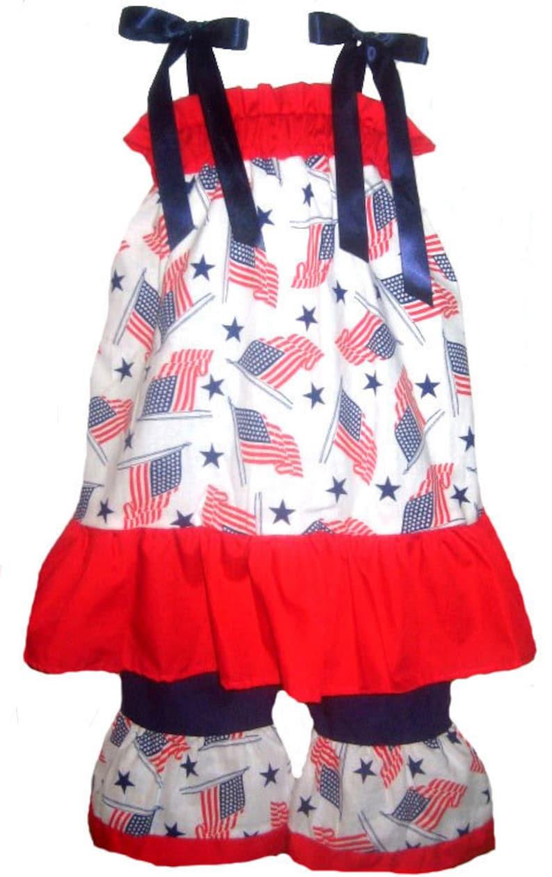 d3790cfb9e8 Pillowcase Dress   Pants Set Patriotic 4th July USA Flag