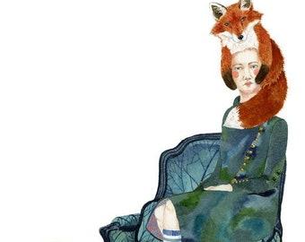 Fox Print Fox Hat Women perching on Armchair illustration 8x11