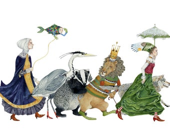 Parade of animals and women Giclee print of lion, badger, wolf, heron and two women 8x11