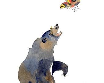 Bear illustration Print Bear and Butterfly Giclee Art print illustration 8x11