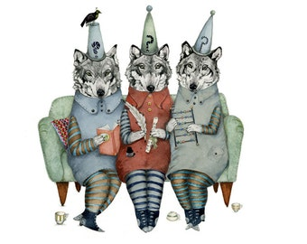 Wolf Print Wolves in thinking caps Giclee art print illustration 8x11