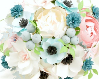 The Blushing Bride - Winter Berries - Paper Bouquet - Customize your Style and Colors - Made To Order