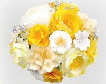 As SEEN on Emmaline Bride - Cream and Yellow - Paper Bouquet - Customize your Style and Colors - Made To Order