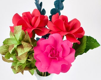 Handmade Paper Flower - The Darling Lady - Custom Colours - Set of 3 - Stems  Included