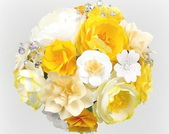 Cream and Yellow - Paper Bouquet - Customize your Style and Colors - Made To Order