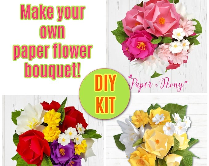 Featured listing image: DIY Paper Bouquet Kit with Video Tutorial