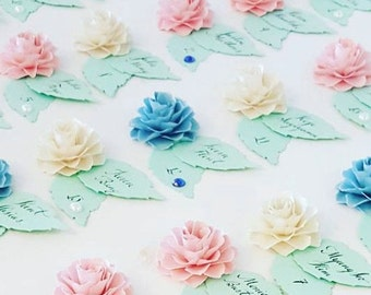 Wedding - ESCORT CARDS - The Rosetta Paper Flowers - Assorted Color - set of 50 - Made To Order