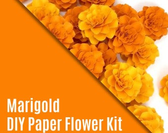 DIY KIT - The Marigold Paper Flowers - set of 3 + VIDEO Tutorial
