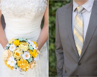 As SEEN on Emmaline Bride - Cream and Yellow - Round Style Paper Bouquet - Customize your Style and Colors - Made To Order
