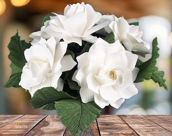 NEW: The  Gardenia Handmade Paper Flower  - set of 6 flowers  - Stems Included -  Custom order available