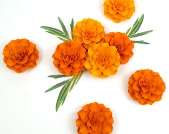 The Marigold Paper Flowers   - set of 5