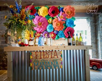 As Seen in MINGLE Magazine - Mexican Fiesta - Extra large Paper Flower Backdrop - Custom Order