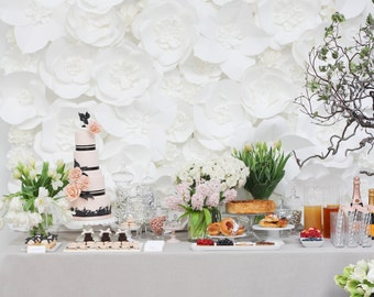 As Featured on STYLE ME PRETTY - Extra large Paper Flower Backdrop - white - Parisian Inspired - Custom Order
