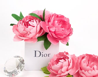 NEW! Paper Peony Bouquet in Authentic Mini Dior Bag