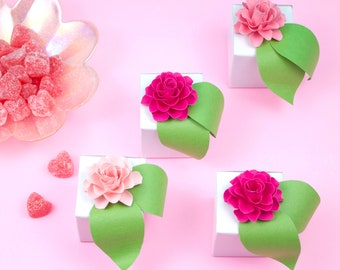 "10 Gift Boxes - 2 x 2 x 2"", White Gloss - Flower embellishment NOT included"