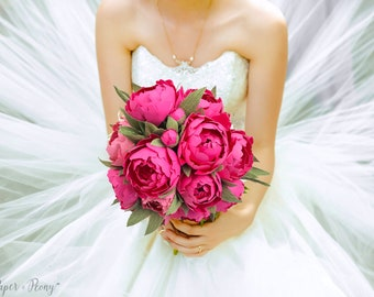 The Peony Round Style paper bouquet - wedding - home decor