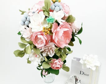 The Angel Bride - Winter Berries - Paper Bouquet - Customize your Style and Colors - Made To Order