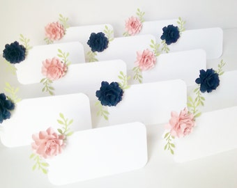 Wedding  -  ESCORT CARDS - Place Cards  - The Rosetta Paper Flowers - Custom Color - set of  50- Made To Order