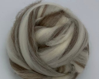 Mixed BFL - Blue Faced Leicester natural white & natural black BFL roving - 4 ounce