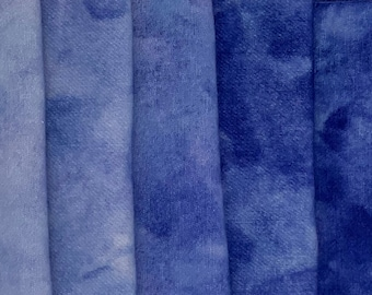 8-Value Swatch Set MC #52 blue's - hand dyed rug hooking wool fabric -  (1) Fat Quarter total (8) values 1/32 yard each