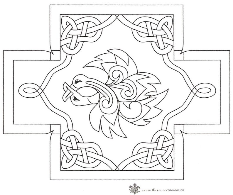 Celtic Design by Kim Nixon footstool pattern for our Queen Anne Footstool base