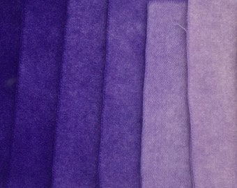 8-Value Swatch Set MC #53 purple - hand dyed rug hooking wool fabric -  (1) Fat Quarter total (8) values 1/32 yard each