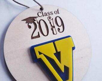 Class of 2019 Victor Blue Devils Wooden and Acrylic Ornament, Pre-Sale, to be picked up 12/8/18