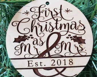 First Christmas as Mr. And Mrs. Ornament, wedding gift, christmas ornament, bride and groom, wedding ornament