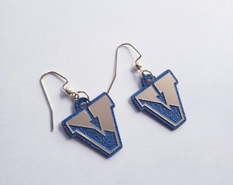Victor Pre-Sale Brushed Gold and Blue Acrylic, Dangle Earrings, Light Weight, Earrings, School Spirit