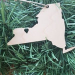 New York State Rochester Heart Ornament, maple, light wood Wooden Ornament