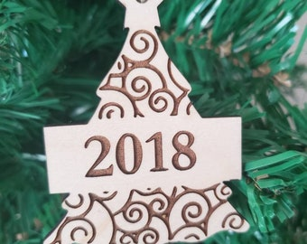 2018 Wooden Ornament, Personalized wooden ornament, small gift idea