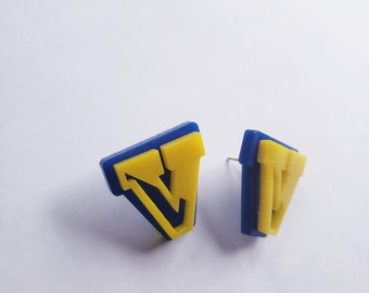 Victor Pre-Sale Large Stud Earrings, Blue and Yellow Acrylic, Light Weight, Layered