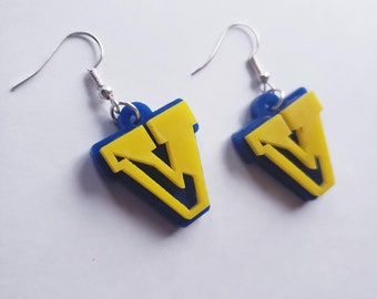 Victor Pre-Sale Large Dangle Earrings, Blue and Yellow Acrylic, Light Weight, Layered