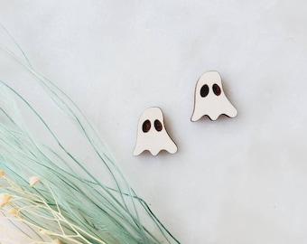 Ghost stud earrings, Lightweight, wooden Earrings, Popular Earrings, Gift Idea, wood, ghost, fall earrings, Halloween