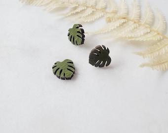 Monstera Stud Earrings,  Lightweight, heart earrings, wooden Earrings, Popular Earrings, Gift Idea, green