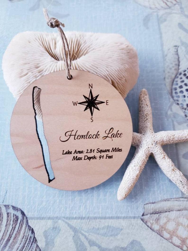 Hemlock Lake Christmas Ornament Wooden Ornament Personalized image 0