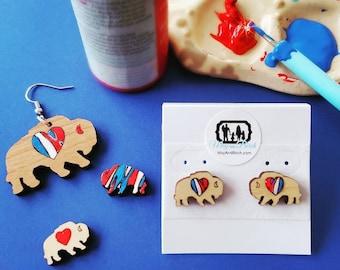 Buffalo Stud earrings, Buffalo NY Inspired Earrings, Buff stud earrings, buffalo heart earrings, custom, wooden, painted earrings