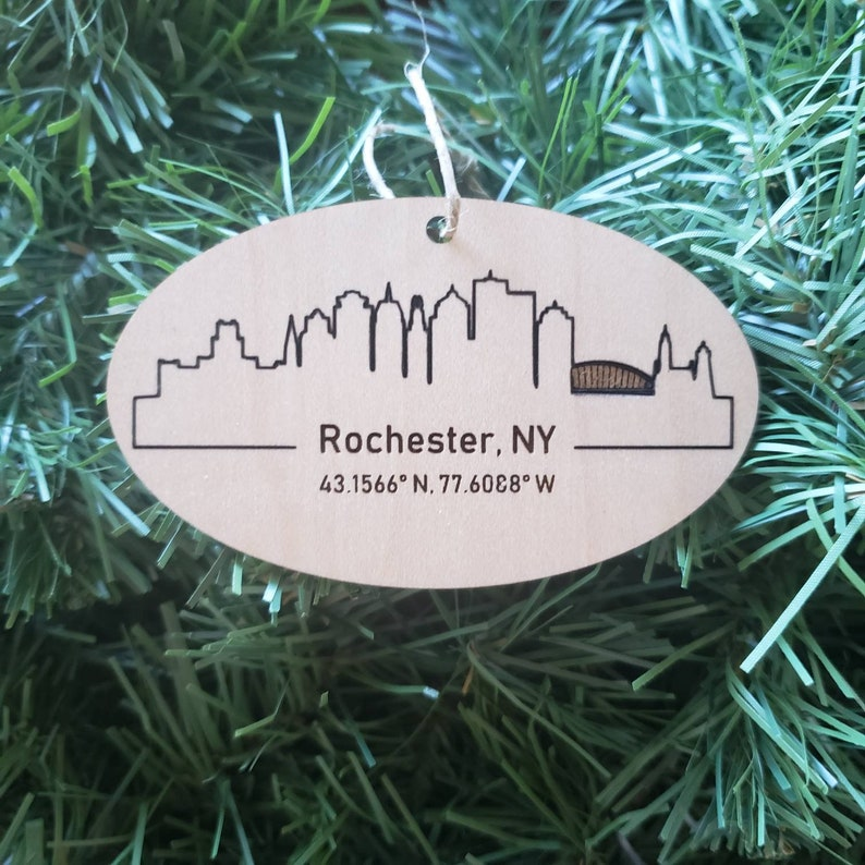 Rochester NY Ornament Skyline Coordinates  Personalized image 0