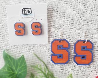 Licensed Syracuse University stud or dangle earrings, Syracuse, University, earring, school logo earrings, SU