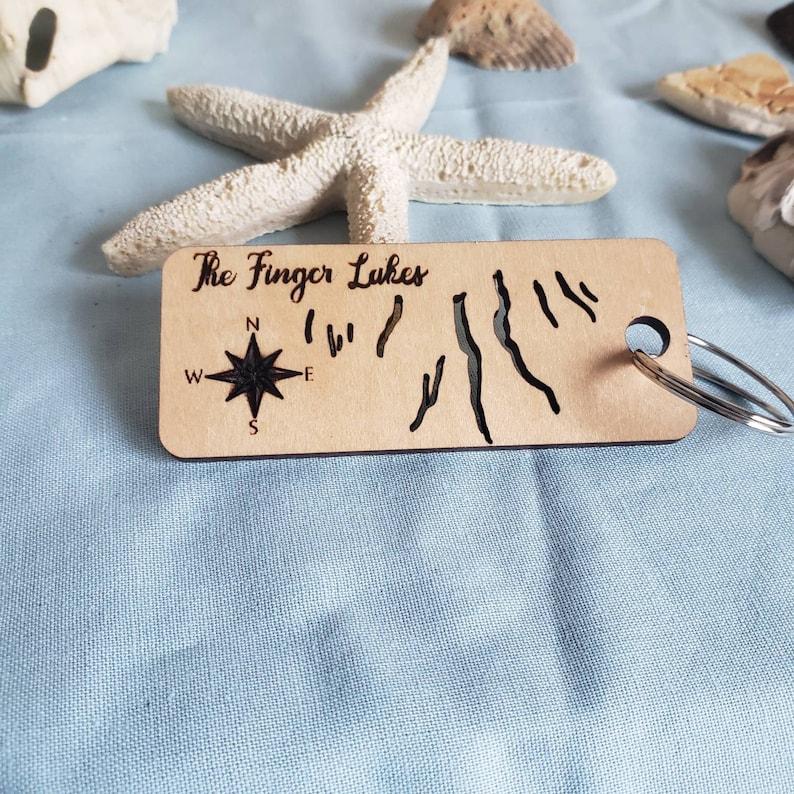 Finger Lakes Keychain Wooden finger lake small gift image 0