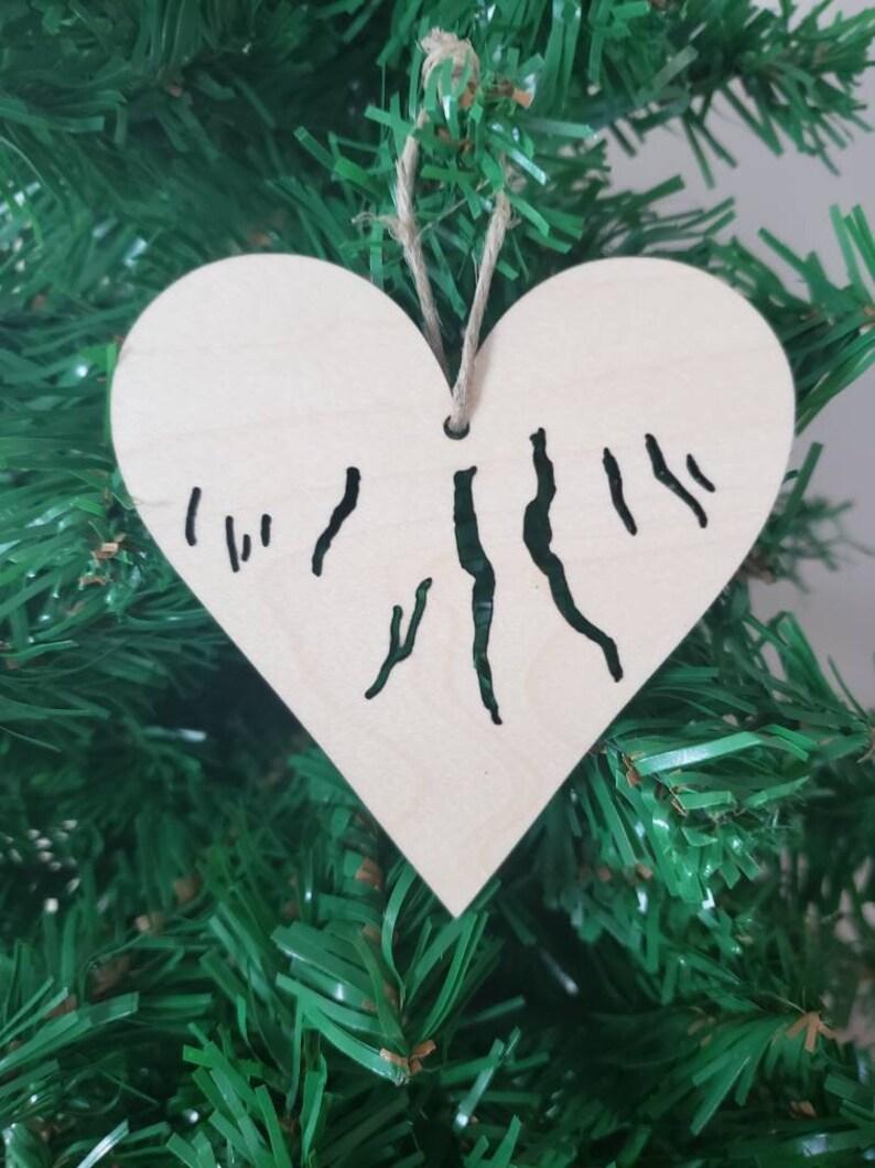 Finger lakes heart Ornament maple light wood Wooden image 0